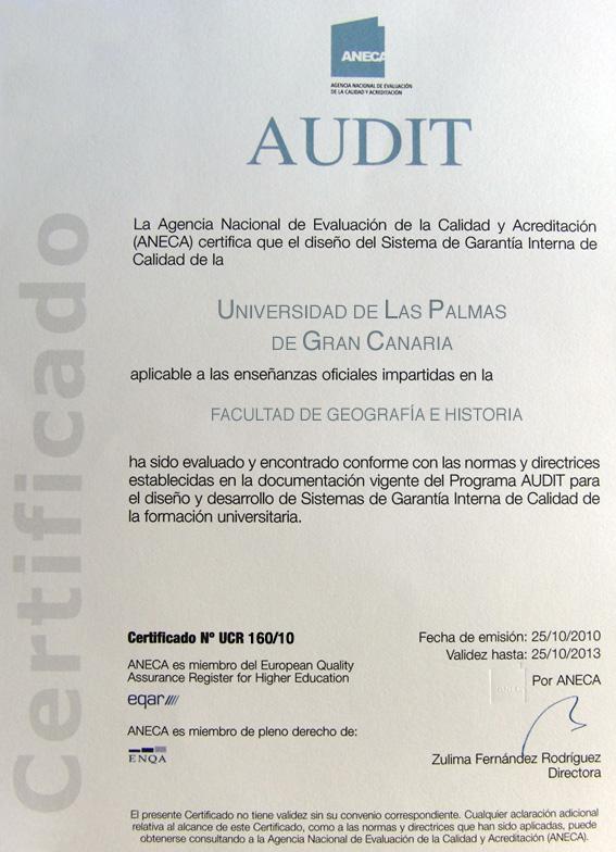 Design of the IQAS (AUDIT certification) - Facultad de